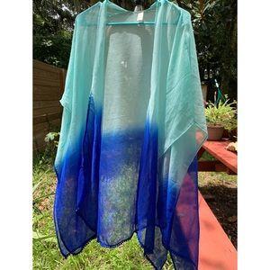 Blue Gradient Kimono Coverup